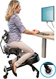 Sleekform Ergonomic Kneeling Chair with Backrest and Handles - Adjustable Knee Stool for better Posture - Faux Leather - Great for Home & Office - Sturdy and Comfortable - Proprietary Desk Chair
