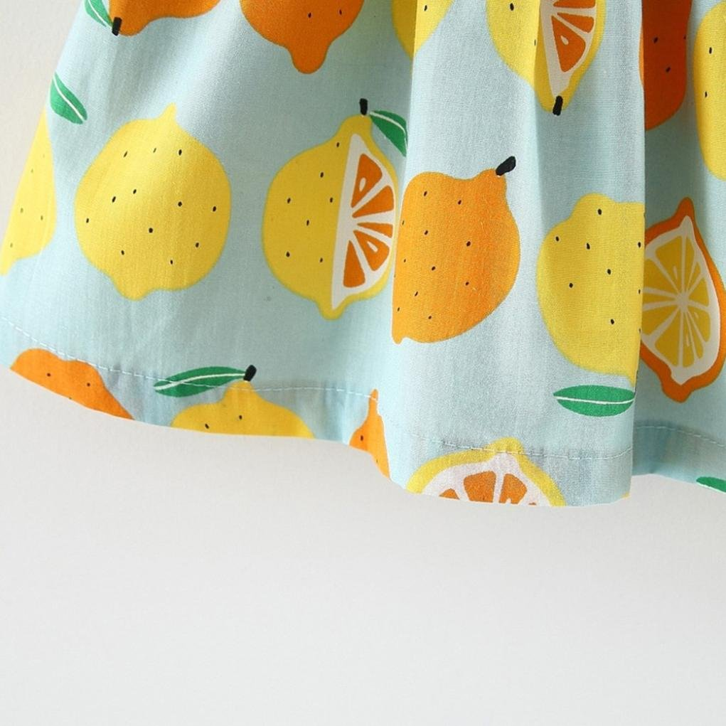 Lanhui Newborn Baby Girl Lemon Print Strap Dress+Lace Shorts Clothes Outfits