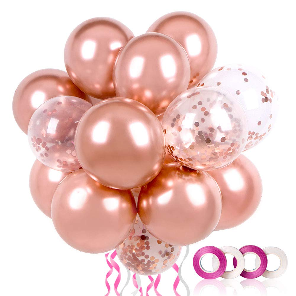 60PCS Premium Rose Gold Balloons, Rose Gold Confetti Balloons w/Ribbon, 12 Inch Latex Party Balloons for Birthday Parties Supplies, Helium Balloons Bulk for Wedding, Graduation, Christmas, Anniversary Party Arch Decorations