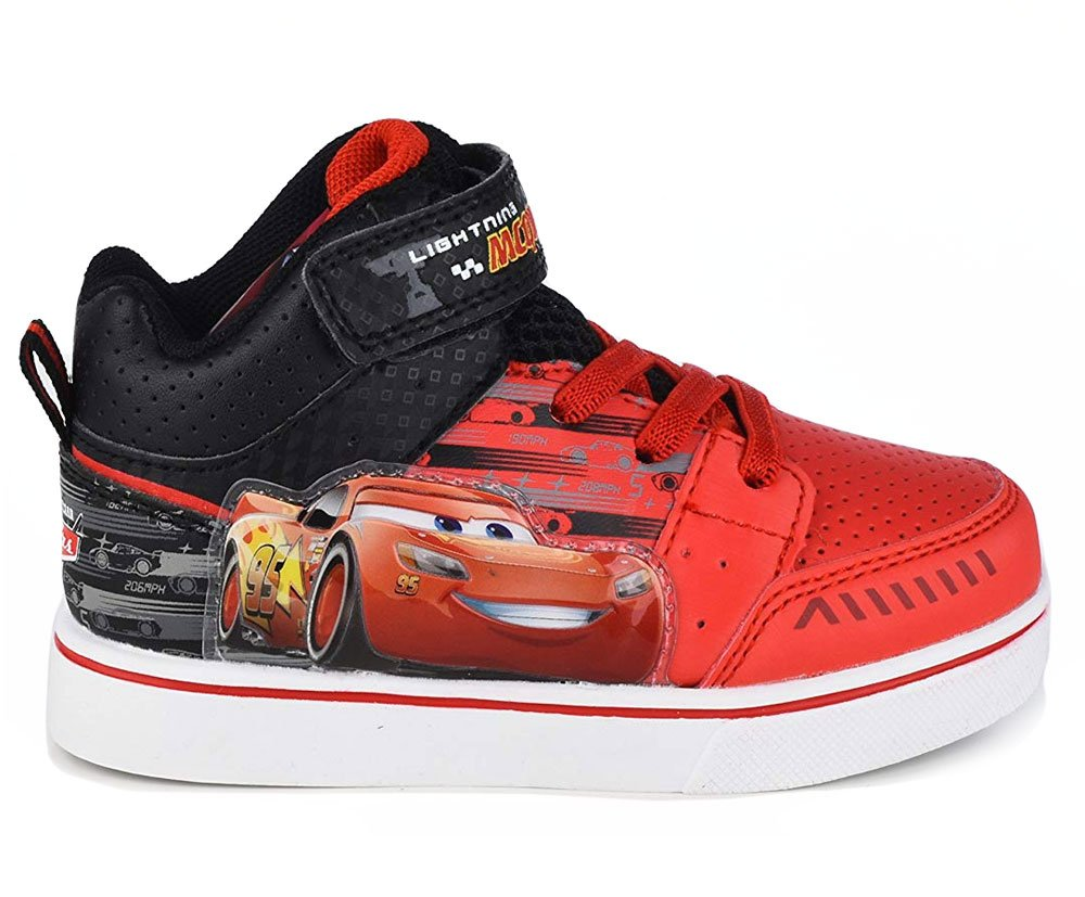 Disney Pixar Toddler Boys Cars Lightning McQueen Red Black Light-Up High-Top Sneaker