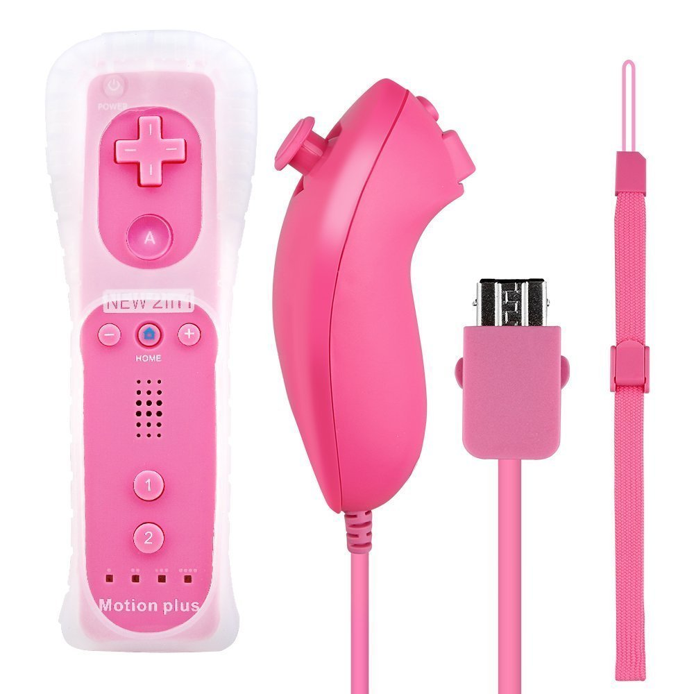 Eeoo New Remote and Nunchuck Controller Built-in Motion Plus Sensor For Wii Game Pink