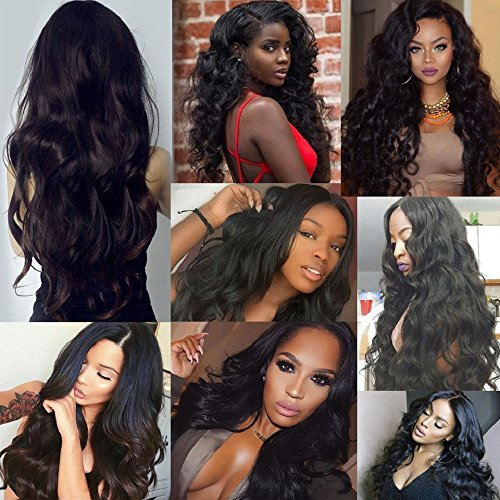 Jif Hair Brazilian Body Wave Lace Closure and 5 Bundles 50g/Bundle 4X4 Free Part Closure Virgin Unprocessed Hair Weave Extensions Grade 8A (12 14 16 18 20 +Closure14)
