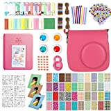 Accessories for Fujifilm Instax Mini 9, 12 in 1 Bundles Set for Mini 9, included Camera Case/Album Book/Close-up Lens/4 Color Filter/3-Inch Photo Frame/Colorful DIY Film Stickers(Flamingo Pink)