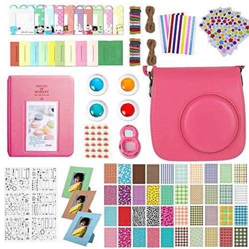 Accessories for Fujifilm Instax Mini 9, 12 in 1 Bundles Set for Mini 9, included Camera Case/Album Book/Close-up Lens/4 Color Filter/3-Inch Photo Frame/Colorful DIY Film Stickers(Flamingo Pink) by MAEKIJOY (Image #5)