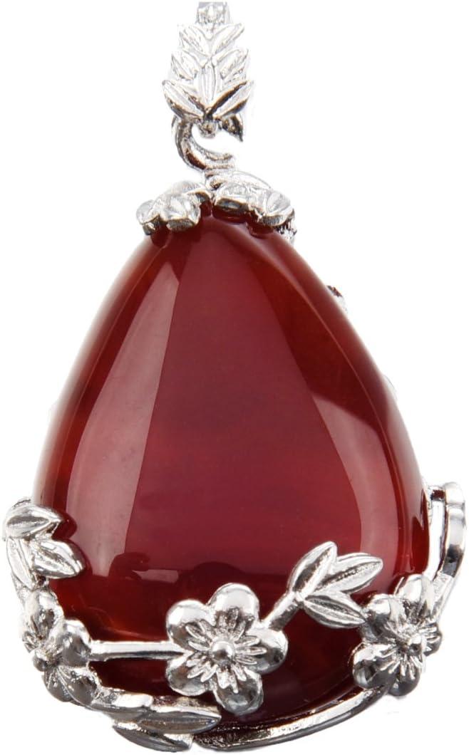 TOOGOO Mujeres angel Lagrimas Agua Gota Semi-Preciosas Piedras Colgante - agata Rojo