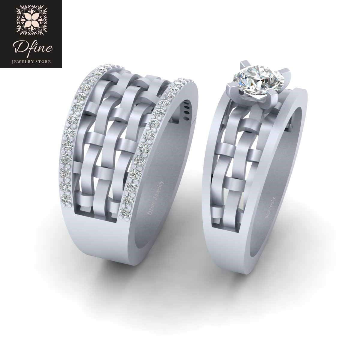 Matching Wedding Rings For Bride And Groom.Amazon Com Mesh Ring Solitaire Diamond Matching Bride And Groom