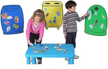 Tres contenedores más un envase recicla pilas de sobre mesa y 36 piezas de consumibles reciclables p