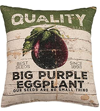 Primitives by Kathy Linen Blend Eggplant Vintage Throw Pillow, 16 x 18-Inch,