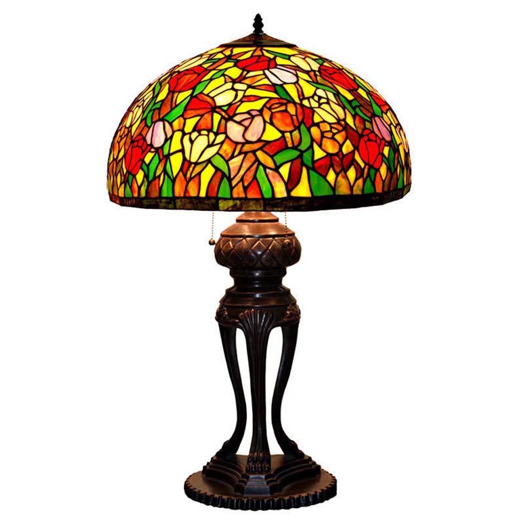 ティファニースタイルテーブルランプ、ロマンチック、ローズステンドグラスのテーブルライト、レトロなリビングルーム、寝室の装飾ナイトライト40 w   B07NNHNJQD