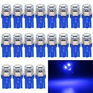 EverBright 20-Pack Blue T10 194 168 2825 W5W 5050 5-SMD LED Bulb for Car Replacement Interior Lights Wedge Dome, Trunk, Dashboard Bulb License Plate Light Lamp DC 12V