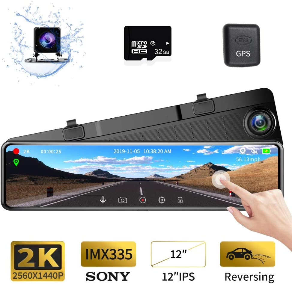 "Karsuite M9 12"" Mirror Dash Cam 2560x1440P Backup Camera with GPS Touch Screen Front and Rear View Dual Lens Full HD WDR Night Vision, G-Sensor (Free 32GB SD Card Included) for Cars/Trucks"