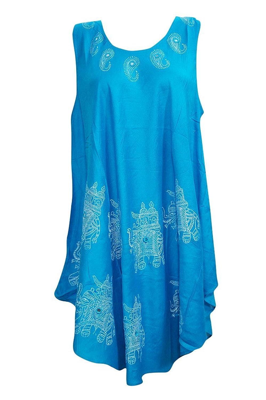 Mogul Interior Women's Beach Dress Elephant Print Sleeveless Ocean Blue Cover Up xl