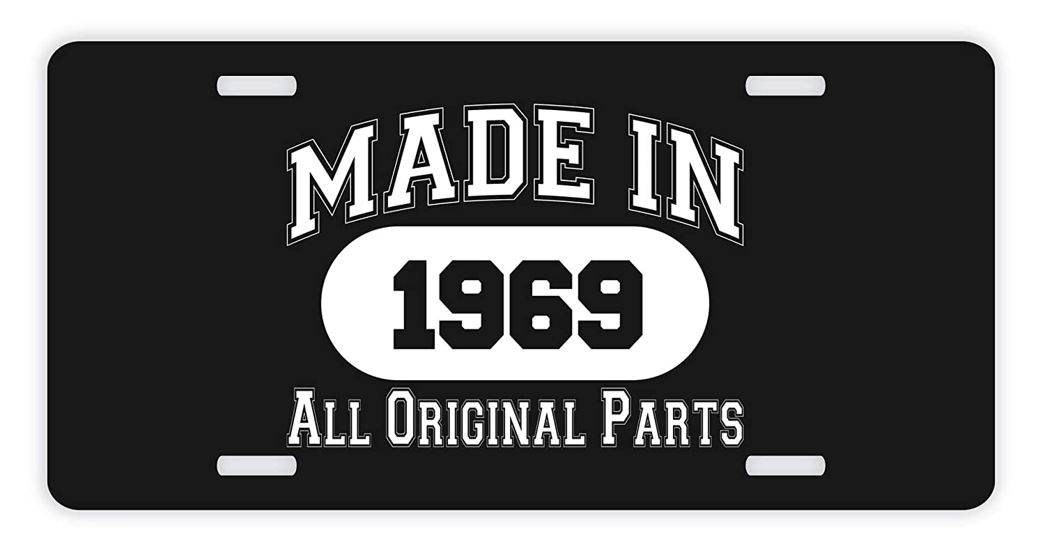 Amazon ThisWear 50th Birthday Gifts Made 1969 All Original Parts Funny For Dad Novelty License Plate Black Automotive