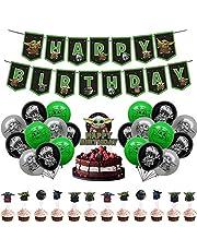 Miotllsy Yoda Partydecoratieset, 32-delig, verjaardagsfeestdecoratie, verjaardagsfeestdecoratie, banner, voor feestjes en verjaardagen, ideaal om je feestjes te versieren