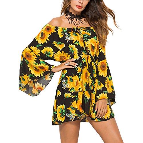 Shoulder Flutter Sleeve Dress - Meland Women's Floral Pleated Waist Off Shoulder Mini Dress with Flutter Sleeves (Black/Sunflower) - X-Large (US 12-14)