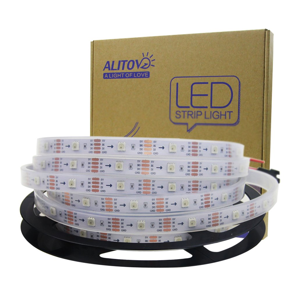 ALITOVE 16.4ft WS2813 Upgraded WS2812B Individually Addressable Programmable RGB LED Strip Light 5m 150 Pixels Signal Break-Point Continuous Transmission Waterproof IP67 White PCB 5V DC