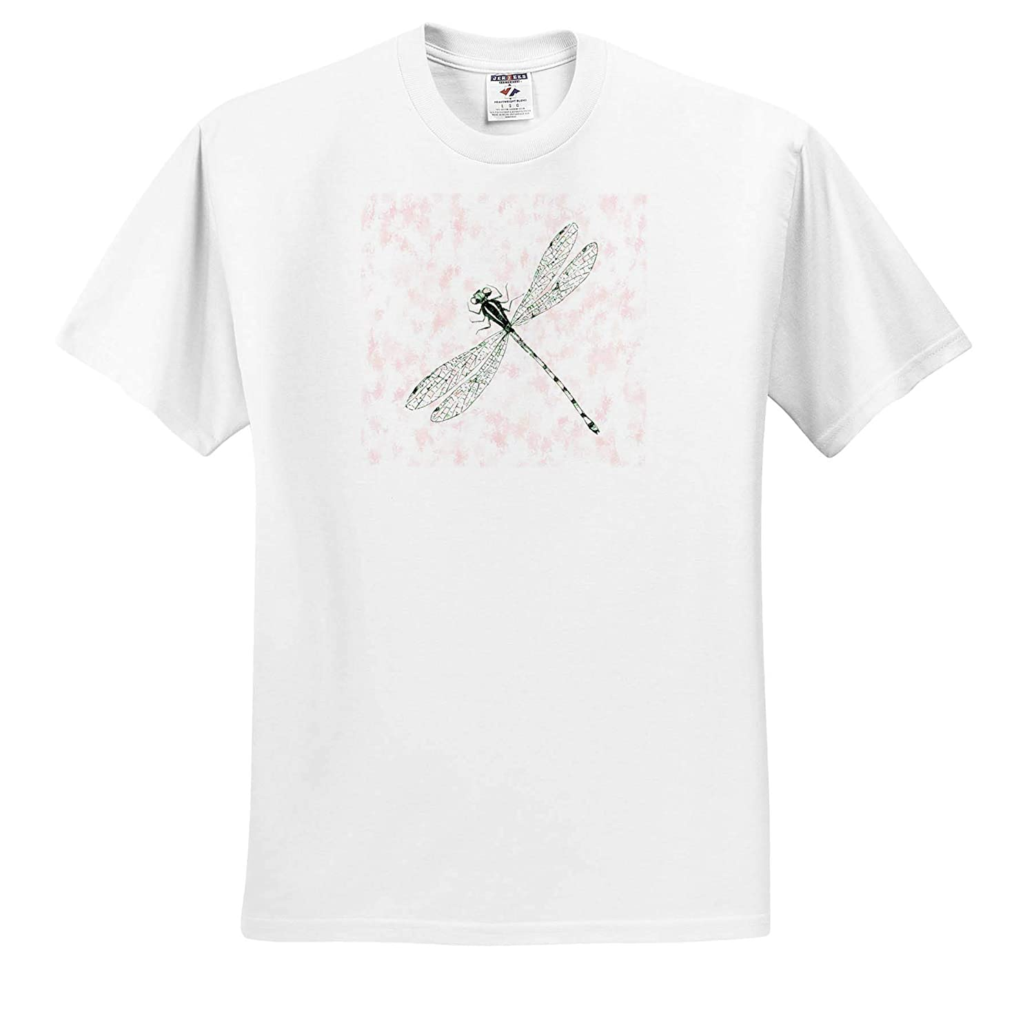 Image of Dragonfly On Marbelized Pink Nature T-Shirts 3dRose Lens Art by Florene