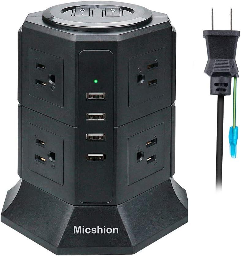 電源タップ タワー式 縦型コンセント 2つのバイポーラスイッチ AC 8個口 USB 4ポート(最大4.5A/5V)1500w 入力100v-125v 急速充電可能 雷ガード保護 過負荷保護 延長コード2m 職場用 家庭用 ブラック PSE認証 Micshionのサムネイル画像