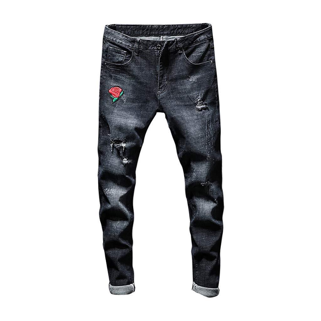 Vintage Jeans, Men's Fashionable Super Comfy Stretch Skinny Slim Fit Denim Jeans Pants Black by Zainafacai