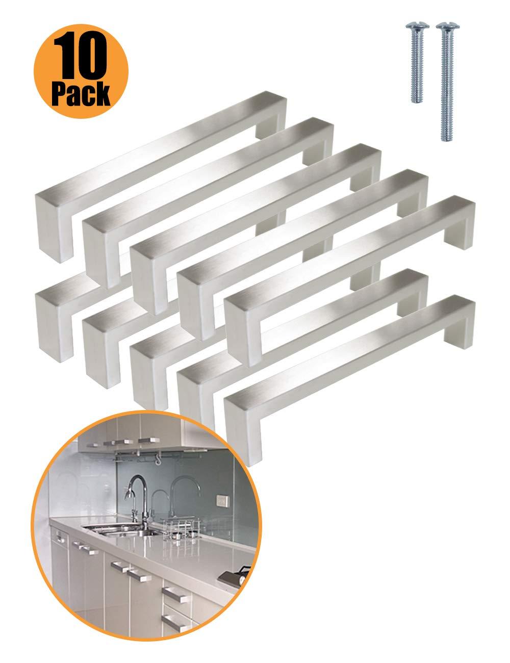 Probrico 10/pcs cepillado n/íquel Bar armario de cocina tirador de puerta asas ba/ño y dormitorio puerta tiradores acero inoxidable 8/tama/ño 96/mm, 128/mm, 160/mm, 192/mm, 224/mm, 256/mm, 288/
