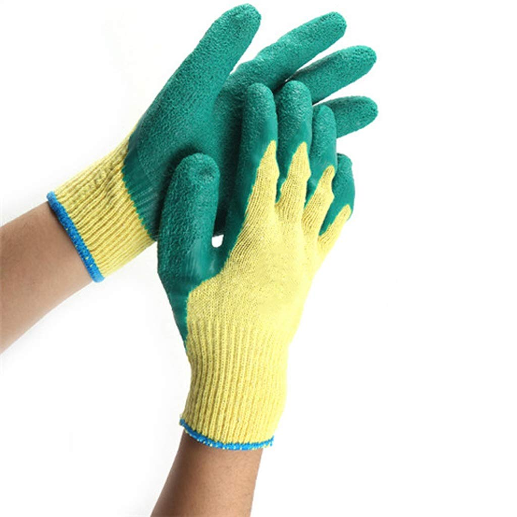 LDKFJH Industrial Gloves, Knit Wrist Cuff Work Gloves,Coated Gardening and Gloves(Green 12 Pairs)