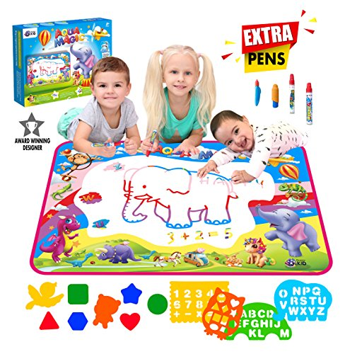 "Aqua Magic Doodle Mat Extra Large XL Aquadoodle 5 Color Water Painting Drawing Kit Travel Accessories 34″ x 22.5"" Pens Stencils Brush Tools for Boys Girls Toddlers Perfect Gift in Box by Picasso Kid"