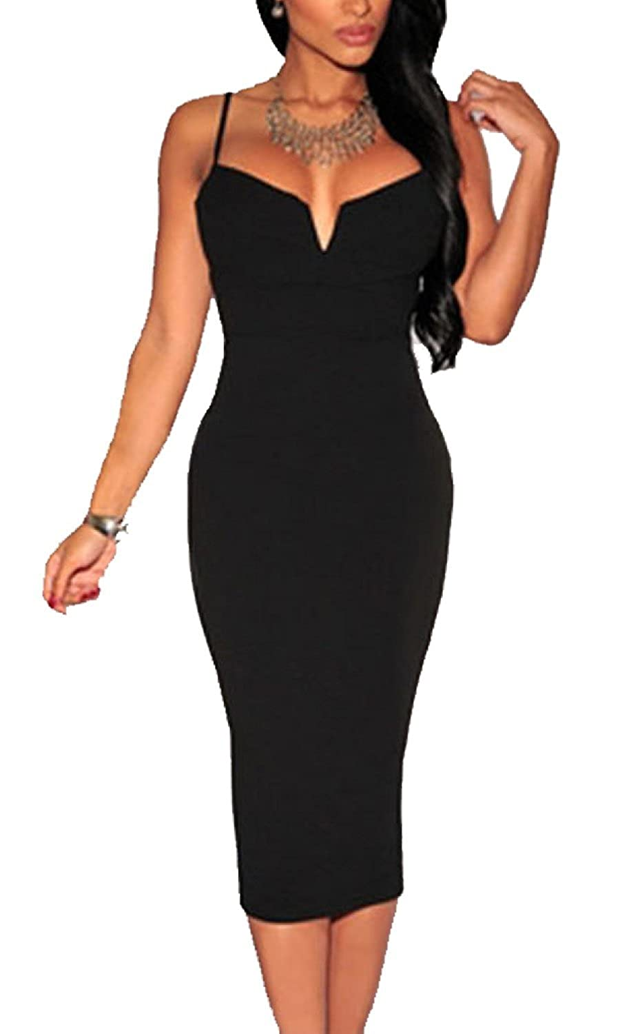 Women's Sexy Plunging V Neck Party Midi Evening Dress For Summer