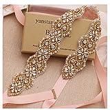 Yanstar Wedding Bridal Belts In Gold Rhinestone Crystal Pearl With Blush Sash For Wedding Dress Prom Gown-17.7In1.6
