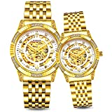 BINLUN His and Hers 18K Gold Ion-plated Stainless Steel Couple Dress Watch 50 Meter Waterproof Lover Gift