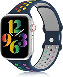 YAXIN Sports Band Compatible with Apple Watch Bands 38MM 40MM 42MM 44MM Women and Men,Breathable Soft Silicone Replacement Strap Double-color Air Holes Bands for iWatch Series 6 5 4 3 2 15 SE