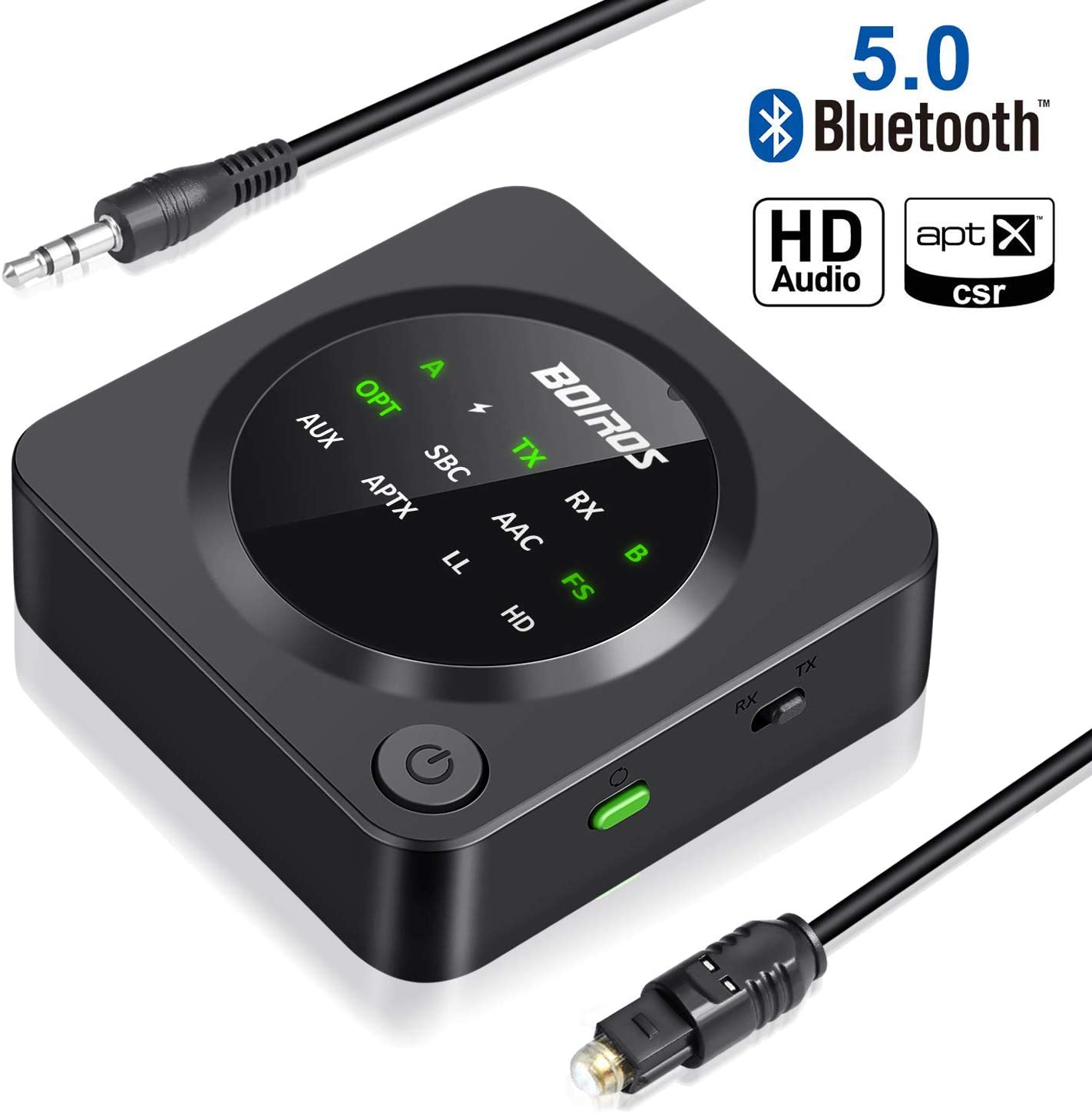 Bluetooth 5.0 Transmitter Receiver Wireless Adapter - 2 in 1 Digital Optical TOSLINK 3.5mm Aux Audio Adapter, aptX Low Latency Pair 2 Headphones Speakers at Once for TV PC Home Stereo System