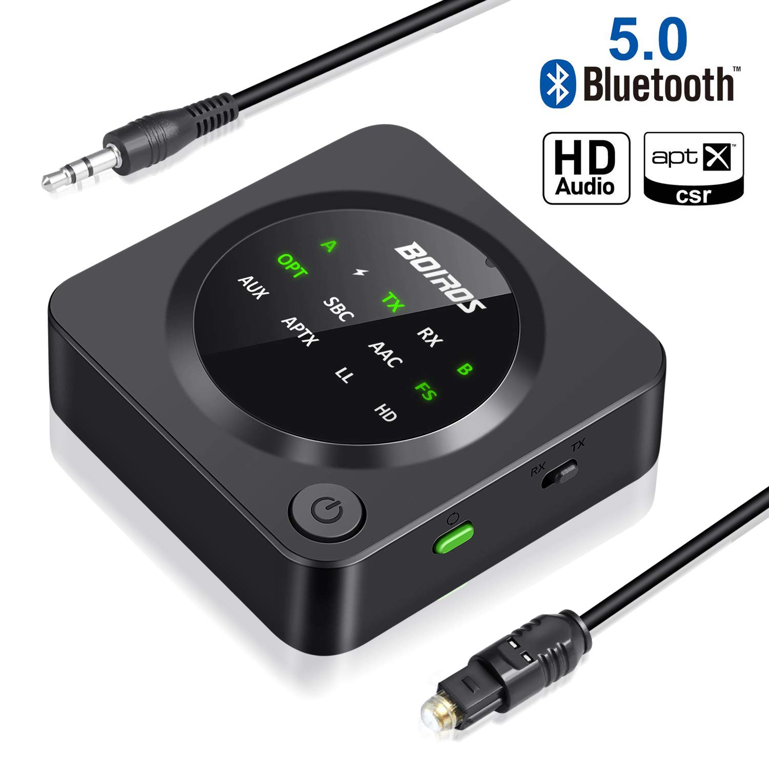 Bluetooth 5.0 Transmitter Receiver, BOIROS 2 in 1 Digital Optical Wireless 3.5mm Aux Audio Adapter, aptX HD, Low Latency Pair 2 Headphones Speakers at Once for TV PC Home Stereo System by BOIROS