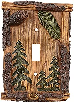 Pine Cones Single Outlet Switch Plate Cover Metal Western Rustic Lodge Cabin