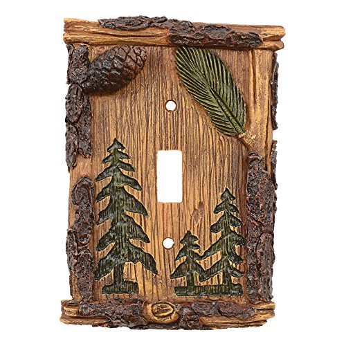 Pinecone & Tree Rustic Single Switch Plate