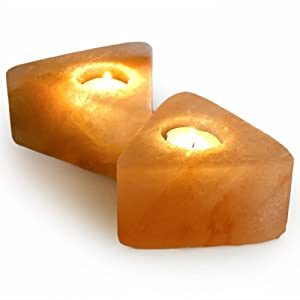 Pack of 2 Premium Quality Triangle Shaped Natural Air Purifying Hand Carved Himalayan Salt Candle Holder