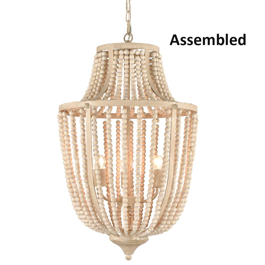 AXILAND Rustic Chandelier 3 Lights Wood Beaded Lights Fixture