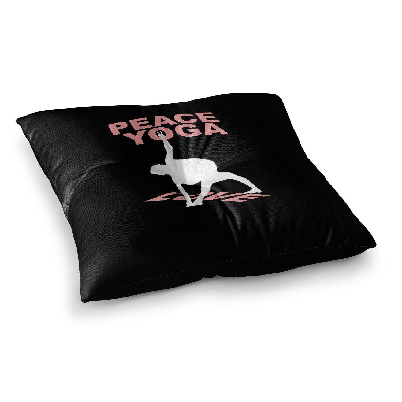 Kess InHouse BarmalisiRTB Peace Yoga Love Pink White Illustration 26 x 26 Square Floor Pillow