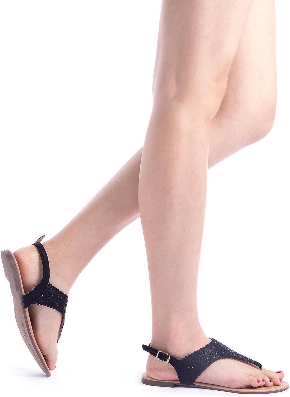 DREAM PAIRS MEDINIE Women Rhinestone Casual Wear Cut Out Flat Sandals
