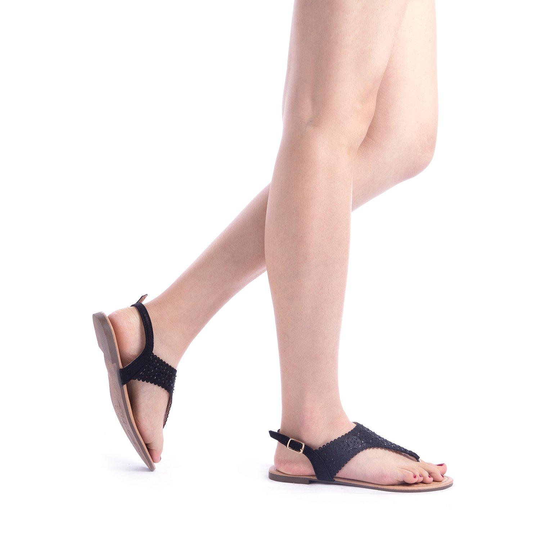 75d5b74be5b Women MEDINIE DREAM PAIRS MEDINIE Women Rhinestone Casual Wear Cut Out Flat  Sandals  DREAM PAIRS