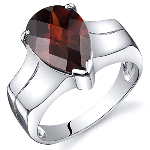 Garnet Solitaire Ring Sterling Silver Rhodium Nickel Finish Pear Shape 3.50 Carats Sizes 5 to 9