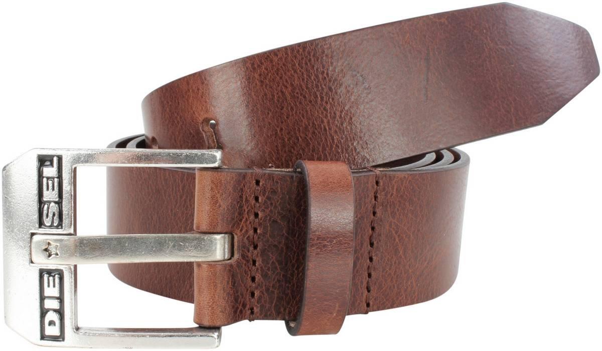 Diesel Mens Bluestar Leather Belt - Dark Brown - Medium