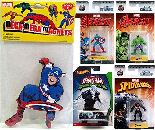 Avengers Marvel Nano Mini Figure Captain America MV10 & Hulk MV26 Metalfigs Assemble + Venom MV34 3-Pack + Hot Wheels Spider-Man Sinister 6 Electro Villain & Bonus Mega Magnet Captain Super Character