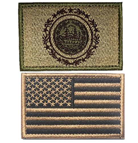 Embroidery USA Flag and New Hampshire State Flag Velcro Patc