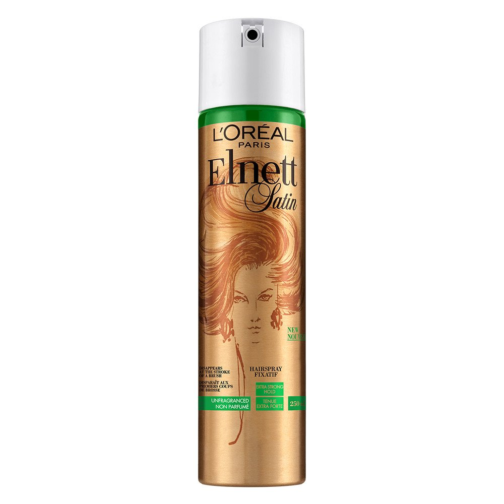 L'Oreal Paris Elnett Satin Unfragranced Extra Strong Hold Hairspray, Brushable finish L' Oreal Paris