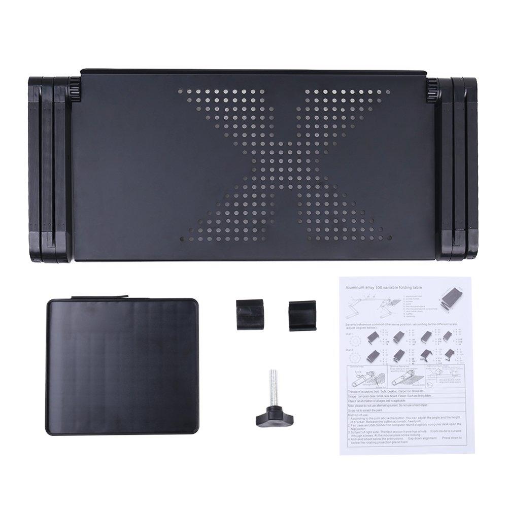 Folding Levels Masrou Portable Noir Ergonomic Notebook Laptop Stand Table Bed Breakfast Tray Noir Aluminum Lapdesks Support Pliable pour Ordinateur