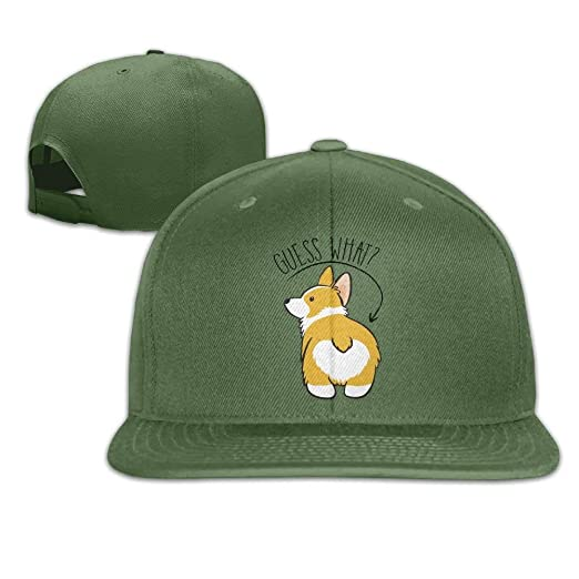 4bef8780b31b1 Image Unavailable. Image not available for. Color  Cool Guess What Corgi  Butt Hat Mens Womens Baseball Hat Hip Hop Casquette Cap Snapback Hats