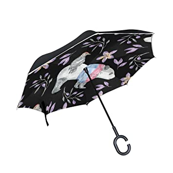 Mnsruu - Paraguas de Doble Capa invertido, diseño de Ositos y Flores moradas, Paraguas