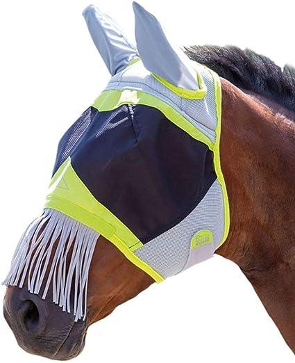 Shires Masque anti-mouches en maille fine avec frange de nez