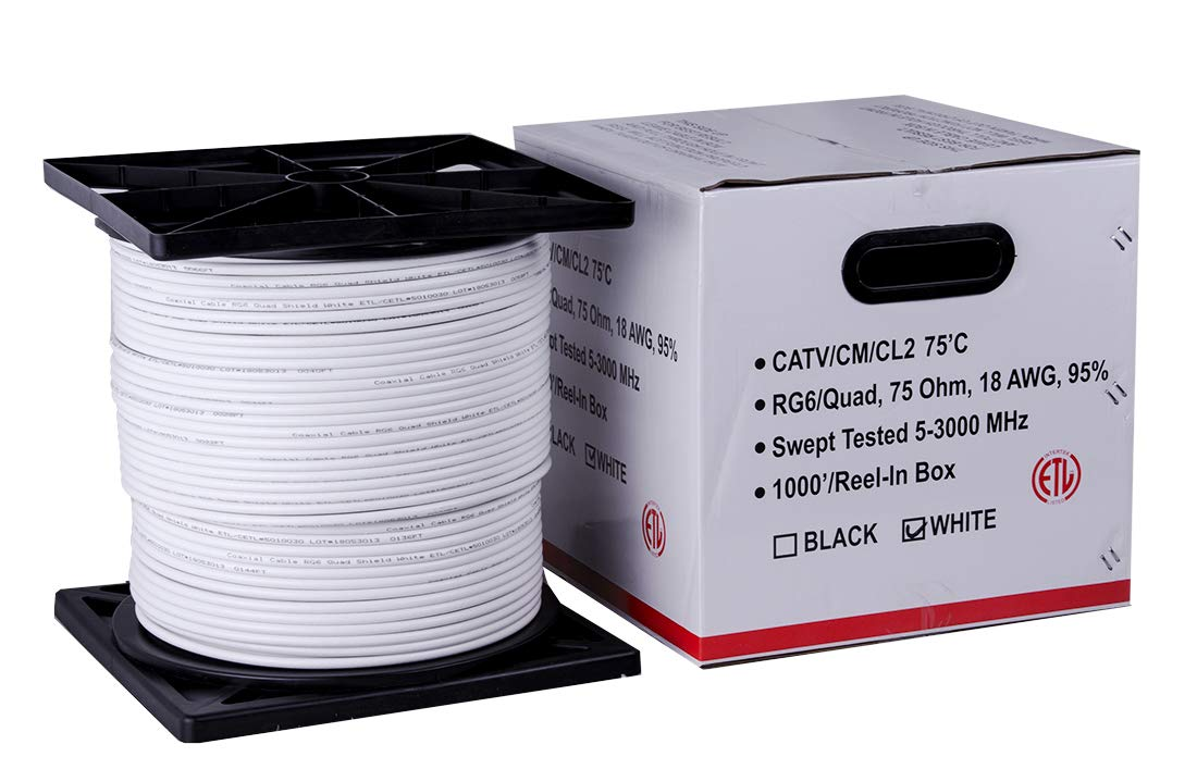 Five Star Cable 1000 ft. RG6 Quad Shielded Coaxial Cable ETL Listed for use with Audio/Video, Radio Frequency, and CATV/MATV Transmissions. White by FIVE STAR (Image #6)