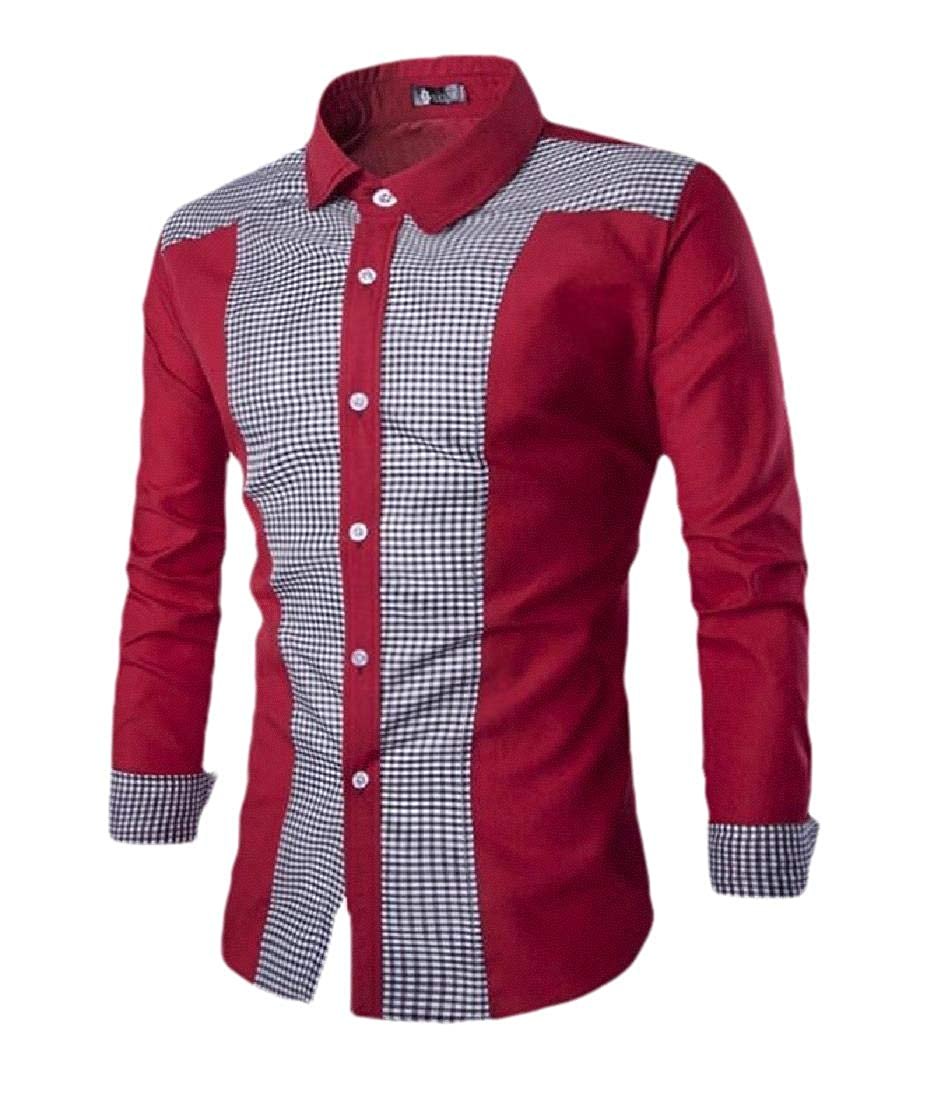 Lutratocro Men Juniors Slim Plaid Long Sleeve Button Down Shirt